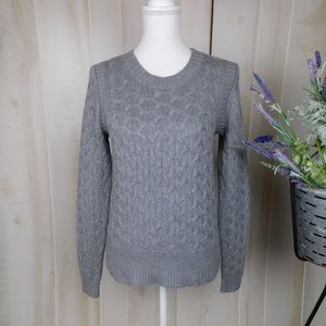 J. Crew Grey Cabled Knit Sweater